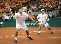 20-9-08, Netherlands, Apeldoorn, Tennis, Daviscup NL-Zuid Korea, Dubbles match:  HyungTaik Lee and WongSun Jun(L)