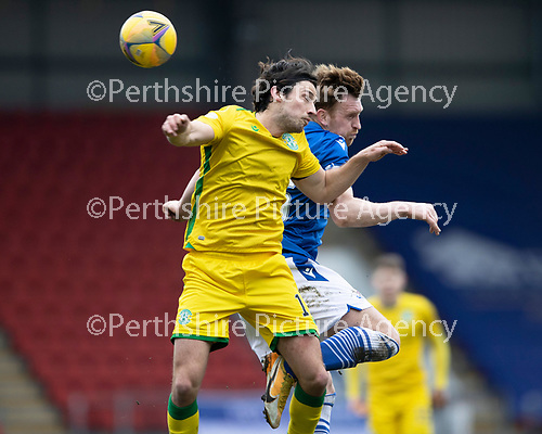St Johnstone v Hibs …06.03.21   McDiarmid Park   SPFL<br />Joe Newell and Liam Craig<br />Picture by Graeme Hart.<br />Copyright Perthshire Picture Agency<br />Tel: 01738 623350  Mobile: 07990 594431