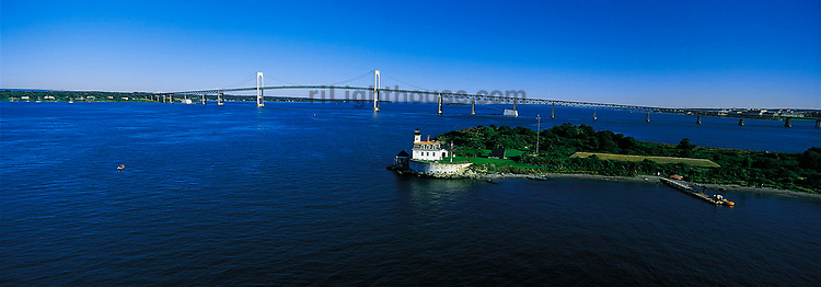 Aerial of Rose Island Light with a view of the Newport Bridge