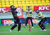 Australia's Joshua Philippe sends the ball high to be caught as keeper Tim Seifert (right) looks on during the 4th international men's T20 cricket match between the New Zealand Black Caps and Australia at Sky Stadium in Wellington, New Zealand on Friday, 5 March 2021. Photo: Dave Lintott / lintottphoto.co.nz