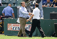 Head coached of LA Galaxy and Columbus Crew Bruce Arena (l) and Robert Warzycha (r) shake hands after the match. The Columbus Crew and the LA Galaxy played to a 1-1 tie at Home Depot Center stadium in Carson, California on Sunday May 17, 2009.   .