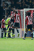 GOAL - Ollie Watkins of Brentford is congratulated for his goal during the Sky Bet Championship match between Brentford and Derby County at Griffin Park, London, England on 26 September 2017. Photo by Carlton Myrie / PRiME Media Images.