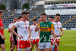 Richie Donnelly, Tyrone, and Paul Geaney, Kerry, after the Allianz Football League Division 1 Semi-Final, between Tyrone and Kerry at Fitzgerald Stadium, Killarney, on Saturday.