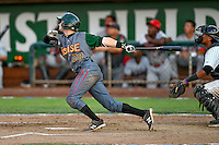 Northwest League All-Star Garrett Hampson (28) of the Boise Hawks at bat against the Pioneer League All-Stars at the 2nd Annual Northwest League-Pioneer League All-Star Game at Lindquist Field on August 2, 2016 in Ogden, Utah. The Northwest League defeated the Pioneer League 11-5.  (Stephen Smith/Four Seam Images)