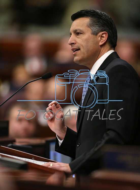 Gov. Brian Sandoval delivers his State of the State address at the Legislative Building in Carson City, Nev., on Thursday night, Jan. 15, 2015. (Las Vegas Review-Journal/Cathleen Allison)
