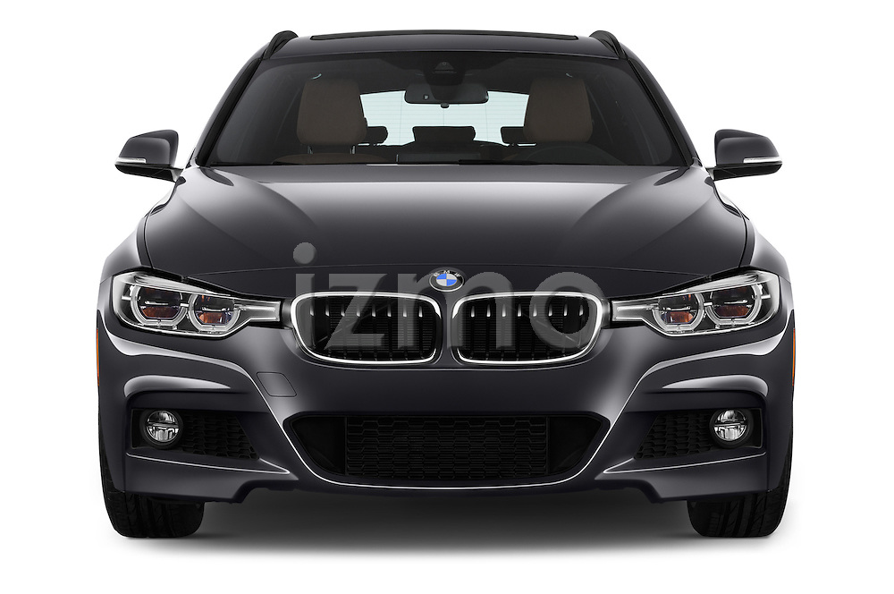 Car photography straight front view of a 2018 BMW 3-Series 330i-Sports-Wagon 5 Door Wagon Front View