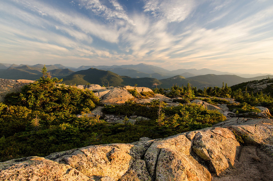 A wild sky morning captured from a peak in New Hampshires White Mountains.