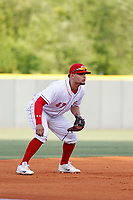 Greeneville Reds third baseman Juan Martinez (47) in the field during a game against the Bristol Pirates at Pioneer Field on June 20, 2018 in Greeneville, Tennessee. Bristol defeated Greeneville 11-0. (Robert Gurganus/Four Seam Images)