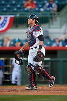 Florida Fire Frogs catcher Alex Jackson (25) during a game against the Dunedin Blue Jays on April 10, 2017 at Osceola County Stadium in Kissimmee, Florida.  Florida defeated Dunedin 4-0.  (Mike Janes/Four Seam Images)