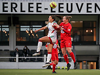 Luna Vanzeir of OHL (10) and Stefanie Deville of Woluwe (3) battle for the ball  during a female soccer game between Oud Heverlee Leuven and Femina White Star Woluwe  on the 5 th matchday of the 2020 - 2021 season of Belgian Womens Super League , Sunday 18 th of October 2020  in Heverlee , Belgium . PHOTO SPORTPIX.BE | SPP | SEVIL OKTEM
