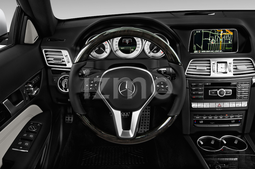 Steering wheel view of a 2014 Mercedes E Class 350 Coupe