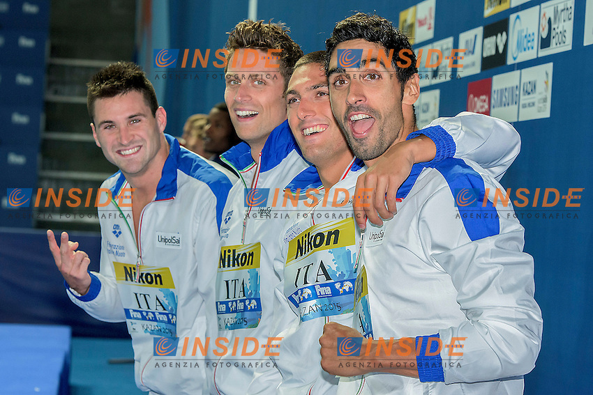 Team Italy ITA<br /> (L to R) ORSI Marco, DOTTO Luca, SANTUCCI Michele, MAGNINI Filippo<br /> 4X100 Freestyle Relay Men Final Bronze Medal<br /> Swimming Kazan Arena<br /> Day10 02/08/2015<br /> XVI FINA World Championships Aquatics Swimming<br /> Kazan Tatarstan RUS July 24 - Aug. 9 2015 <br /> Photo G.Scala/Deepbluemedia/Insidefoto