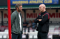 Dagenham manager Daryl McMahon (L) and Hornchurch manager Mark Stimson in conversation during Hornchurch vs Dagenham & Redbridge, Friendly Match Football at Hornchurch Stadium on 24th July 2021
