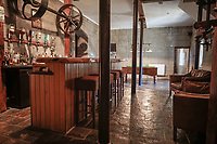 BNPS.co.uk (01202) 558833. <br /> Pic: Galbraith/BNPS<br /> <br /> Perfect for a wee dram...<br /> <br /> A converted former Scottish whisky distillery with a secret pub in the basement has gone on sale for £460,000.<br /> <br /> The property was built during the 1800s and has retained and improved many of its original features, including a real slate roof, oak beams, stone walls and its original millstones inside the building.<br /> <br /> The house is in Keith, Moray, a town at the start of the country's world-famous Speyside Malt Whisky Trail of distillerie.<br /> <br /> It now has five bedrooms, three reception rooms, two en-suite bathrooms and two family-style bathrooms.