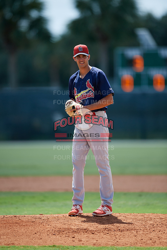 GCL Cardinals relief pitcher Alex Gallegos (47) gets ready to deliver a pitch during a game against the GCL Marlins on August 4, 2018 at Roger Dean Chevrolet Stadium in Jupiter, Florida.  GCL Marlins defeated GCL Cardinals 6-3.  (Mike Janes/Four Seam Images)