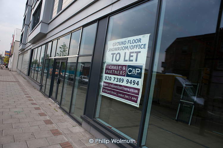 Closed office building in Burnt Oak, London, one of many empty business premises in the area.