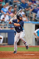 Corpus Christi Hooks second baseman Jack Mayfield (5) at bat during a game against the Tulsa Drillers on June 3, 2017 at ONEOK Field in Tulsa, Oklahoma.  Corpus Christi defeated Tulsa 5-3.  (Mike Janes/Four Seam Images)