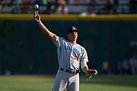Stockton Ports first baseman Edwin Diaz (12) during a California League game against the Visalia Rawhide at Visalia Recreation Ballpark on May 8, 2018 in Visalia, California. Stockton defeated Visalia 6-2. (Zachary Lucy/Four Seam Images)