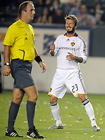 Los Angeles Galaxy's David Beckham reacts to missing a shot during game against San Jose at the Home Depot Center. Los Angeles Galaxy beat San Jose 2-0 Saturday, October 24. 2009, in Carson, California. .