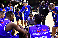 Coach Zico Coronel of the Saints talks to his players before the round one NBL match between the Wellington Saints and the Canterbury Rams at TSB Bank Arena, Wellington, New Zealand on Friday 30 April 2021.<br /> Photo by Masanori Udagawa. <br /> www.photowellington.photoshelter.com