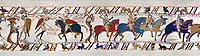 11th Century Medieval Bayeux Tapestry - Scene 50 - A watchman warns Harold that the Norman army is close. Scene 50 William addresses his soldiers. Battle of Hastings 1066