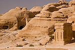 "Petra, Jordan -- The path into the ancient Nabatean capital passes the ""Djinn blocks"" and tombs.  © Rick Collier"