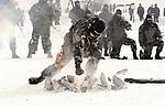 Member of belarussian special forces during a show for the defender of the fatherland day, Minsk, Belarus, february 2018.<br /> Membre des forces spéciales biélorussie montrant sa force durant un show à l'occasion du jour du défendeur de la patrie, Minsk, Biélorussie, février 2018.