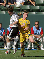 Maren Meinert, left, Frida Oestberg, right, Germany 2-1 over Sweden at the  WWC 2003 Championships.