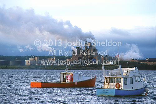 Fishing boats and paper mill<br />