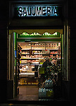 A traditional salumeria, meat and sausage shop in downtown Rome, Italy