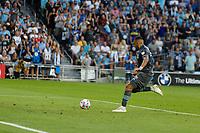 SAINT PAUL, MN - JULY 3: Ramon Abila #9 of Minnesota United FC takes a shot during a game between San Jose Earthquakes and Minnesota United FC at Allianz Field on July 3, 2021 in Saint Paul, Minnesota.