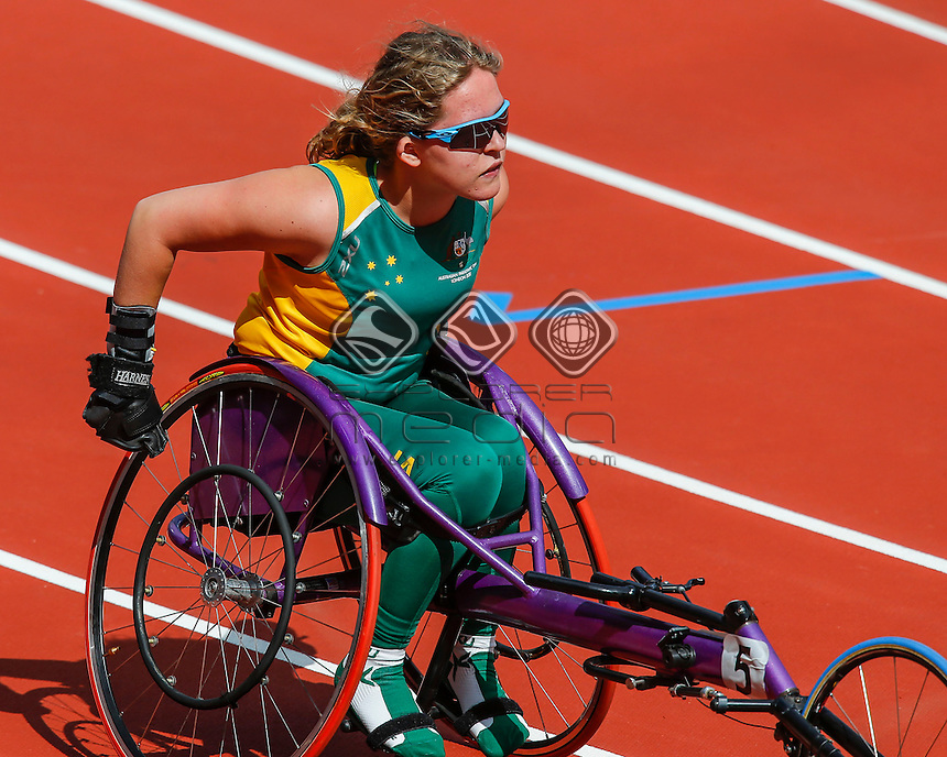 Kristy Pond (AUS) slows after finishing the women's 100m - T34 round 1 event, Athletics (Friday 31st Aug) - Olympic Stadium,Paralympics - Summer / London 2012, London, England 29 Aug - 9 Sept , © Sport the library/Greg Smith