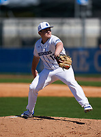 IMG Academy Ascenders Blue pitcher Aeden Finateri (12) during a game against the Carrollwood Day Patriots on February 20, 2021 at IMG Academy in Bradenton, Florida.  (Mike Janes/Four Seam Images)