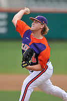 Junior pitcher Garrett Lovorn (48) (Pendleton High School) of the Clemson Tigers in a fall practice intra-squad Orange-Purple scrimmage on Sunday, September 27, 2015, at Doug Kingsmore Stadium in Clemson, South Carolina. (Tom Priddy/Four Seam Images)