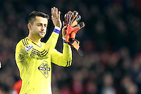 Lukasz Fabianski applauds the fans at the end of the Barclays Premier League Match between Liverpool and Swansea City played at Anfield, Liverpool on 29th November 2015
