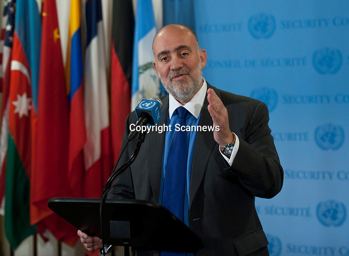 Permanent Representative of Israel Briefs Media .Ron Prosor, Permanent Representative of Israel to the UN, speaks to journalists following Israeli air strikes on Gaza. ..
