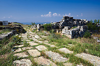 Picture of St Philip Gate ruins.  Hierapolis archaeological site near Pamukkale in Turkey.<br /> <br /> The St. Philip Gate <br /> The gate is situated on the north-eastern side of the defensive walls built under the Emperor Theodosius in the late 4th century. Its importance is indicated by the presence of the two towers that flank the opening The gate was used by pilgrims heading for the summit of the hill on which stood the sanctuary of St. Philip, one of the twelve apostles of Christ. According to tradition the Saint was martyred in Hierapolis.