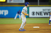 Jarred Kelenic (20) of the Kingsport Mets takes his lead off of second base against the Burlington Royals at Burlington Athletic Stadium on July 27, 2018 in Burlington, North Carolina. The Mets defeated the Royals 8-0.  (Brian Westerholt/Four Seam Images)