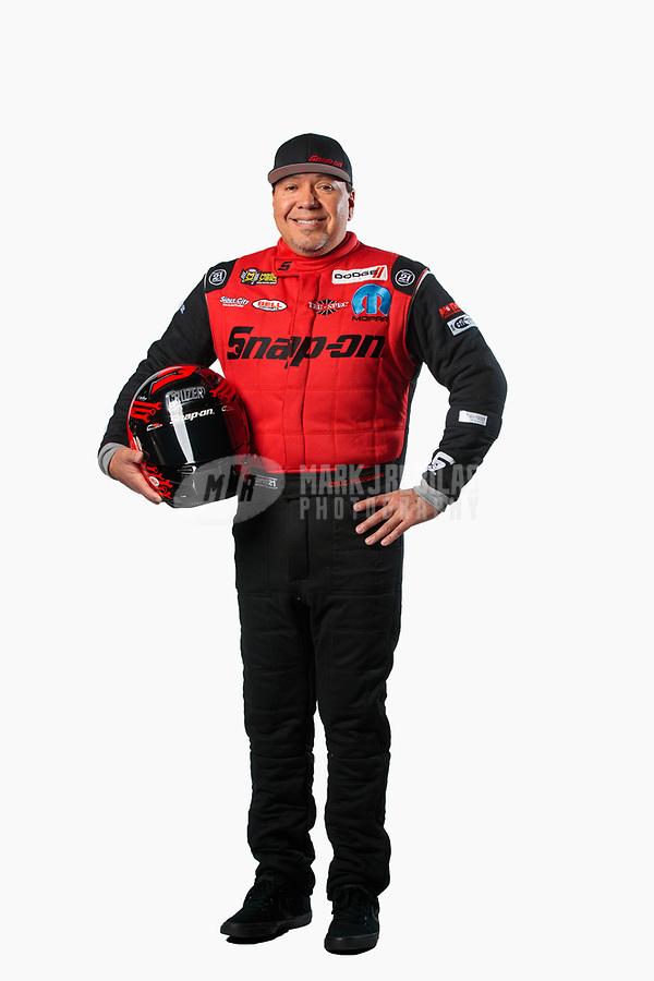 Feb 6, 2019; Pomona, CA, USA; NHRA funny car driver Cruz Pedregon poses for a portrait during NHRA Media Day at the NHRA Museum. Mandatory Credit: Mark J. Rebilas-USA TODAY Sports