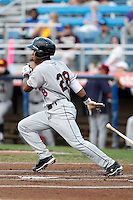 Mahoning Valley Scrappers shortstop Francisco Lindor #28, the Indians first round draft choice, at bat during the first inning of a game against the Jamestown Jammers at Russell E. Diethrick Jr Park on September 2, 2011 in Jamestown, New York.  Mahoning Valley defeated Jamestown 8-4.  (Mike Janes/Four Seam Images)