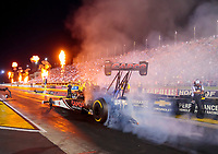 Aug 30, 2019; Clermont, IN, USA; Fire from pyrotechnics go off as NHRA top fuel driver Billy Torrence during qualifying for the US Nationals at Lucas Oil Raceway. Mandatory Credit: Mark J. Rebilas-USA TODAY Sports