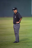 Field umpire Edgar Suarez during a Pioneer League game between the Idaho Falls Chukars and the Billings Mustangs at Melaleuca Field on August 22, 2018 in Idaho Falls, Idaho. The Idaho Falls Chukars defeated the Billings Mustangs by a score of 5-3. (Zachary Lucy/Four Seam Images)