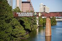 Lets pretend we are Robots graffiti on the Union Pacific Train Bridge over Lake Austin