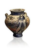 Small Mycenaean amphora decorated with large ivy leaves, Grave VI, Grave Circle A, Mycenae 16-15 Cent BC. National Archaeological Museum Athens. Cat No 192.  White Background.