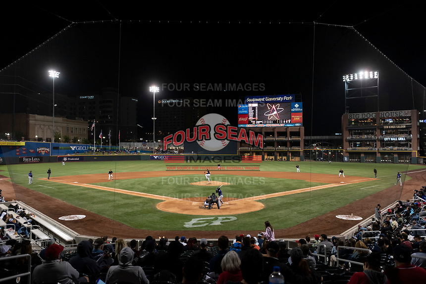 The El Paso Chihuahuas play host to the Albuquerque Isotopes during a Pacific Coast League game at Southwest University Park on May 10, 2019 in El Paso, Texas. Albuquerque defeated El Paso 2-1. (Zachary Lucy/Four Seam Images)