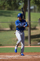Los Angeles Dodgers outfielder Jeren Kendall (3) at bat during an Instructional League game against the Chicago White Sox on September 30, 2017 at Camelback Ranch in Glendale, Arizona. (Zachary Lucy/Four Seam Images)