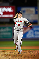 New Britain Rock Cats pitcher Austin House (15) delivers a pitch during a game against the Reading Fightin Phils on August 7, 2015 at FirstEnergy Stadium in Reading, Pennsylvania.  Reading defeated New Britain 4-3 in ten innings.  (Mike Janes/Four Seam Images)