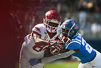 Arkansas wide receiver Warren Thompson (84) carries the ball, Saturday, October 9, 2021 during the second quarter of a football game at Vaught Hemingway Stadium in Oxford, Miss. Check out nwaonline.com/211010Daily/ for today's photo gallery. <br /> (NWA Democrat-Gazette/Charlie Kaijo)