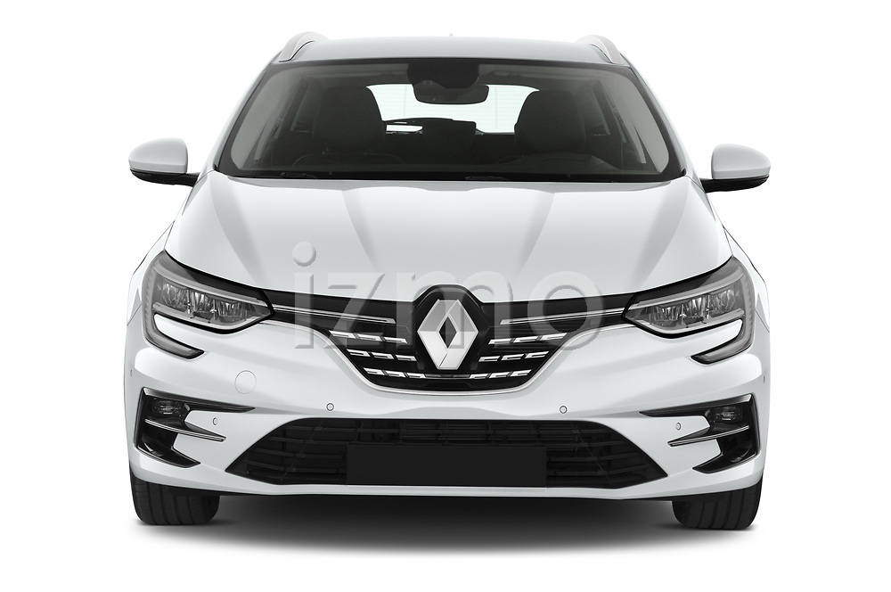 Car photography straight front view of a 2020 Renault Megane-Grandtour Intens 5 Door Wagon Front View