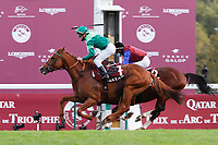 4th October 2020, Longchamp Racecourse, Paris, France; Qatar Prix de l Arc de Triomphe;  Sottsass ridden by Cristian Demuro - In Swoop ridden by Ronan Thomas